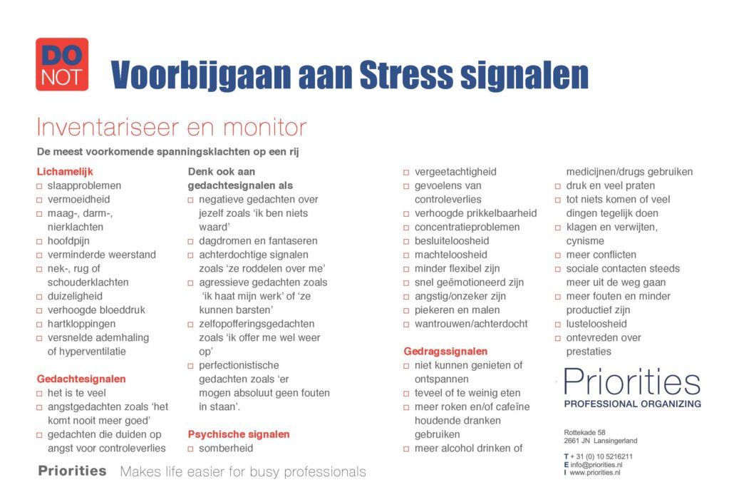 Priorities: Monitor uw Stress Signalen